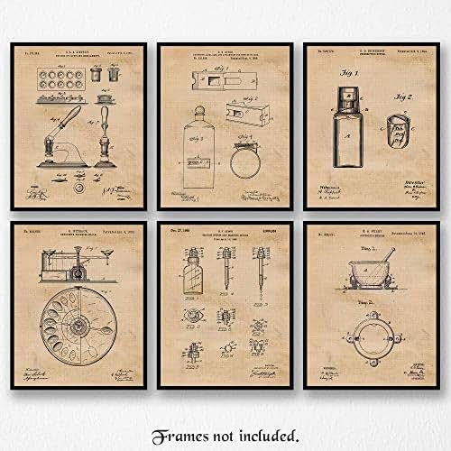 Original Pharmacy Patent Art Poster Prints, Set of 6 (8x10) Unframed Photos, Great Wall Art DecorGifts Under 20 for Home, Office, Garage, Man Cave, Student, Teacher, Doctor, Nurse, Science & ER Fan