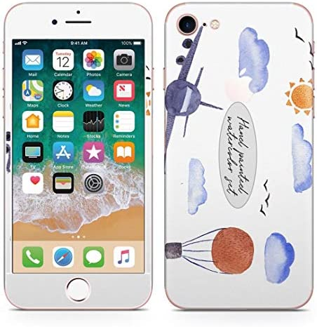 igsticker iPhone8 専用 スキンシール 全面スキンシール フル 背面 側面 正面 液晶 ステッカー 保護シール 016078 飛行機 空 風景