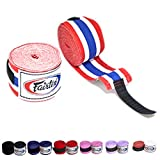 Fairtex Elastic Cotton Handwraps HW2 Hand Wraps Color Black Bleach Blue Red White Pink Purple Thaialnd used in Muay Thai, Boxing, Kickboxing, MMA (Thailand)