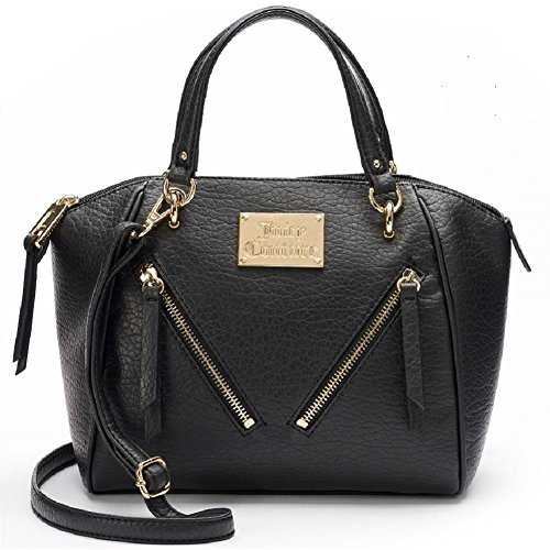 Juicy Couture Designer Purses - Juicy Couture Diagonal Zipper Satchel - Black