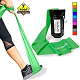SUPER EXERCISE BAND Light GREEN Resistance Band. Your Home Gym Fitness Equipment Kit for Strength Training, Physical Therapy, Yoga, Pilates, Chair Workout | LATEX FREE For ALLERGIC SAFETY | 7 ft