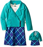 Dollie & Me Big Girls' Texture Moto Jacket with Knit to Plaid Dress, Teal/Multi, 12