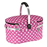 TOMSHOO 30L Cooler Bag High Density Insulation (Hot or Cold) Lightweight Foldable Cooler Bag With Aluminum Handle for Shopping,Beach, Picnic,Camping,BBQ (Rose)