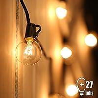 Guirlande Guinguette Extérieur,Tomshine G40 25 ampoules avec 2 ampoules rechange,7.62 Mètres/ 25FT, étanche IP44, E12 Base,Raccordable au maximum 2 Brins(Blanc Chaud)