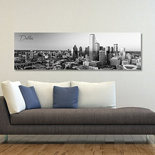 wallsthatspeak B&W Panoramic Dallas 14x48 Wrapped Canvas Framed & Ready to Hang (Poster Dallas Canvas)