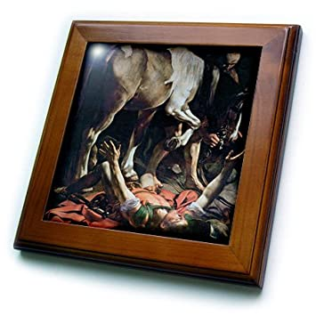 3dRose ft_129785_1 The Conversion of St. Paul by Caravaggio-Framed Tile, 8 by 8-Inch