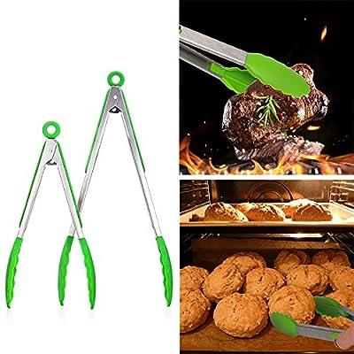 Aimdonr Lot de 2(22,9x 30,5cm) de cuisine/Coque en Silicone/Acier Inoxydable/NON Stick/résistant à la chaleur/Cuisson/BBQ/barbecue/salade/Pince à steak Ensemble