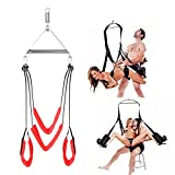 Anosmsh Indoor Swing Set, 360 Spinning Romantic Swivel Swing Fantasy Adult Toys For Couple Play Ceiling Holds Up To 600 LBS, Lightweight & Portable - Frame, Spring And Hooks Included (Red)