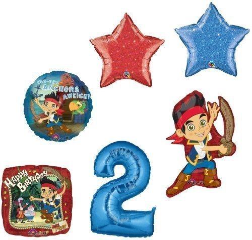 (JAKE & the NEVER Land PIRATES #2 2nd Birthday Party Supplies Mylar BALLOONS Set by Lgp)
