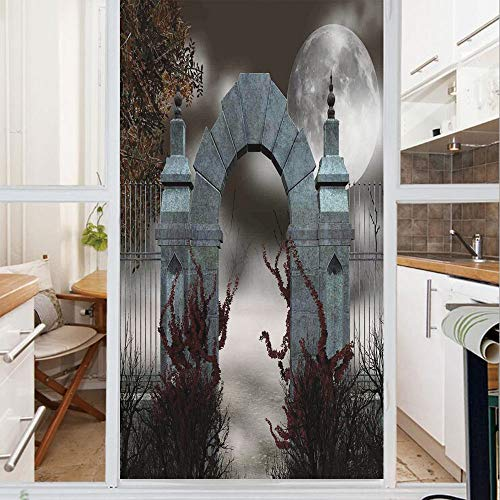 Decorative Window Film,No Glue Frosted Privacy Film,Stained Glass Door Film,Scary Medieval Middle Age Stone Gate with Fog Full Moon and Ivy Dark Night Theme Art,for Home & Office,23.6In. by 35.4In Gre