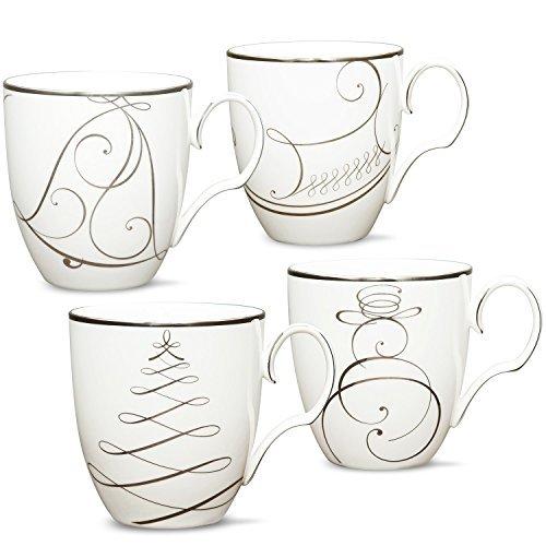 Noritake Platinum Wave Set of 4 Holiday Mugs