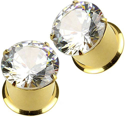 Pair of Prong Set Clear Gem Top Ear Tunnels Plugs Double Flared Gold-Tone IP Steel Gauges - 1G (7mm) (Piercing Earrings Pronged Gem Ear)