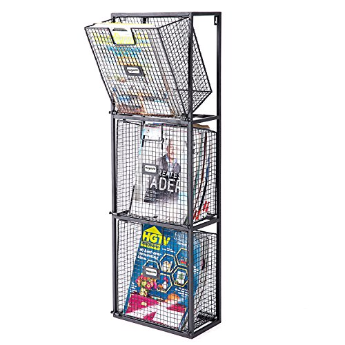 MyGift File Organizer Rack, Wall-Mount 3 Drawer Office Filing System, Black by MyGift