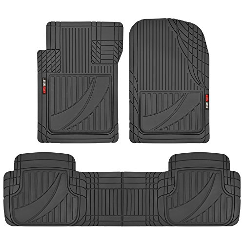 (Motor Trend OF-793-BK Black FlexTough Advanced Performance Mats - 3pc Rubber Floor Mats for Car SUV Auto All Weather Plus - 2 Front & Rear Liner (Black), 1 Pack)