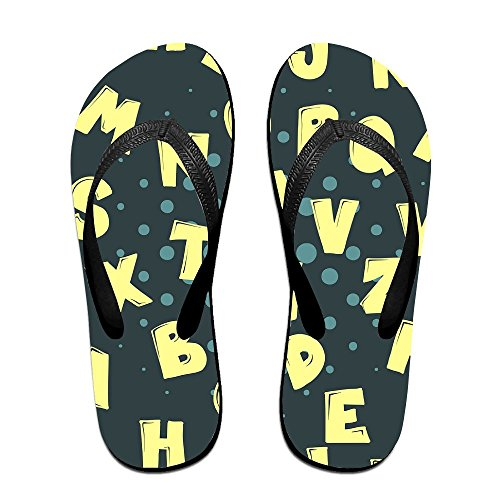 For Beach Slim Slipper Footwear Women Flop Men Cartoon Casual Outdoor Thong Flip Alphabetic Kids Summer Sandal Black Cute wqROCHnxY
