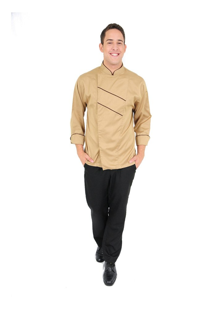 DAM UNIFORMS Unisex Long Sleeves Khaki Front Stripes Brown Chef Coat by DAM UNIFORMS