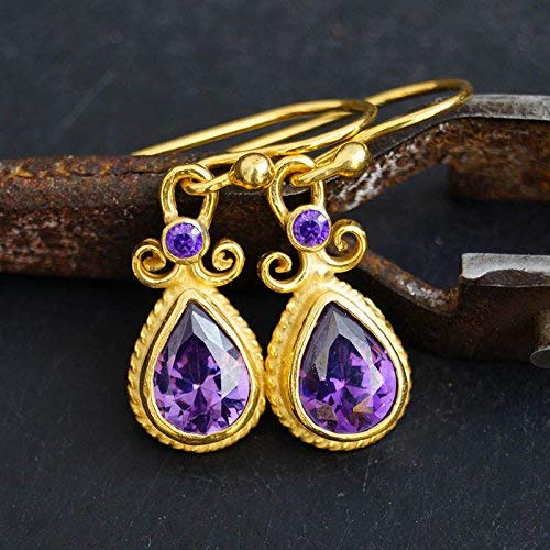 Sterling Silver Amethyst Hook Earrings 24k Yellow Gold Vermeil Handcrafted Roman Art Design Women Earrings Turkish Designer Jewelry