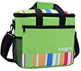 MIER 24-can Large Capacity Soft Cooler Tote Insulated Lunch Bag Green Stripe Outdoor Picnic Bag