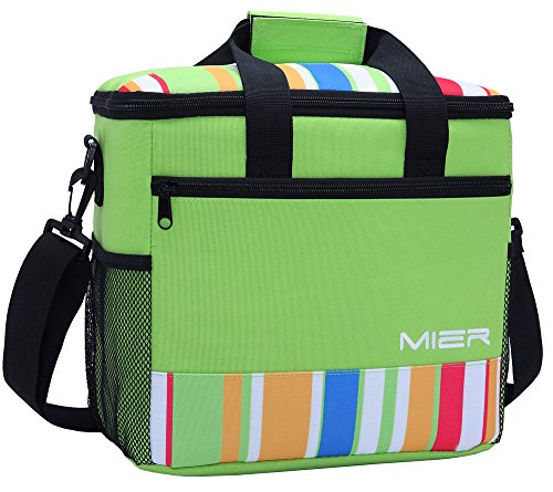 Leak Proof Peva Lining - MIER 24 Can Large Capacity Soft Cooler Tote Insulated Lunch Bag Green Stripe Outdoor Picnic Bag