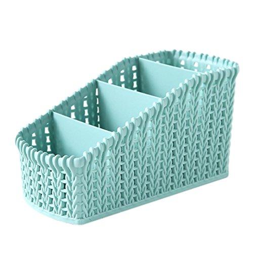 Kecar Cosmetic Storage Basket - Desktop Office Storage Organizer Storage Rack - Creative Three-layer Makeup Desk Office Supply Organizer (Light Blue) -
