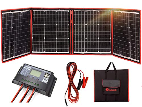 DOKIO Foldable Solar Panel 200 Watts 12 Volts Monocrystalline with Inverter Charge Controller
