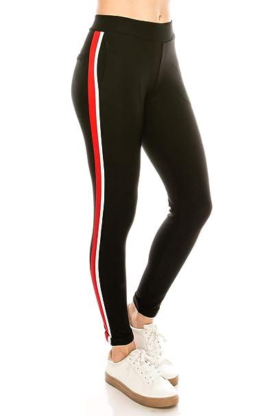 Amazon.com: LA12ST - Pantalón elástico para mujer con cintas ...