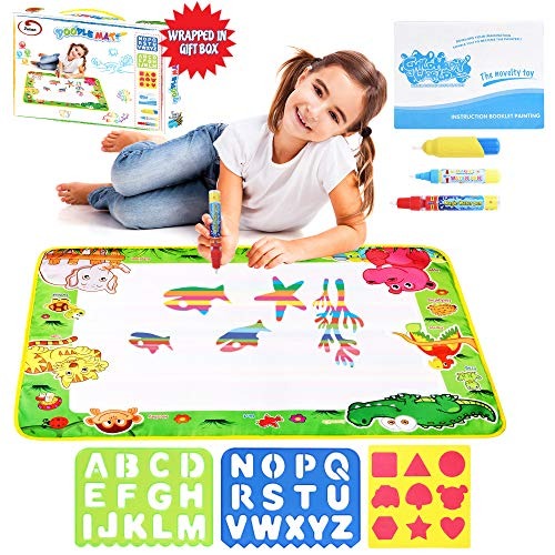 (Zutan Large Aqua Doodle Mat Water Drawing Pad with 3 Pens, 1 Sheet of Shapes, 2 Alphabet Stencils & 1 Drawing Book – Perfect Educational Toy, with Gift Box for Birthdays, Christmas or Any Occasion)