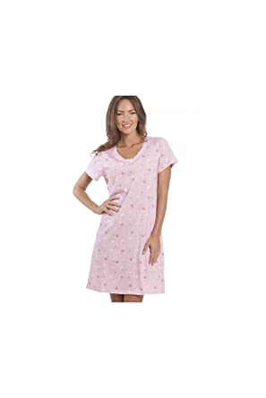 Camille and Print Smooth Soft Cotton Summer Nightdresses 6 8 Pink Roses  Multi at Amazon Women s Clothing store  f6d7e2a4ea