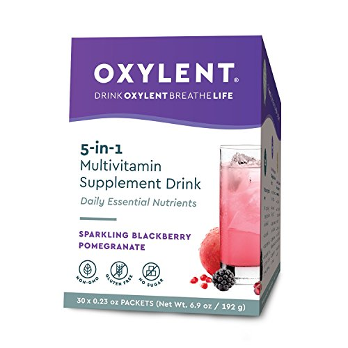Effervescent Packets Powder (Oxylent, 5-in-1 Multivitamin Supplement Drink, Blackberry, 30 Packet Box)