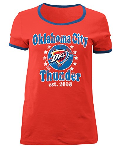 NBA Oklahoma City Thunder Adult Women Ladies Baby Jersey Short sleeve Ringer Tee,XL,Warm Red