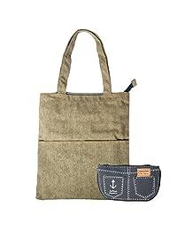 kilofly Womens Casual Shoulder Bag Tote Handbag + Canvas Pen Organizer Case Set