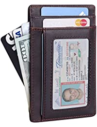 Full Grain leather Mens wallet- Minimalist Slim Genuine Leather Front Pocket Wallet with RFID Blocking