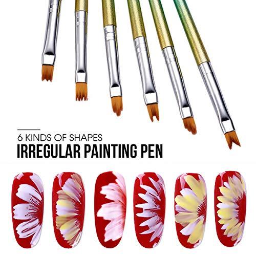 6pcs Nail Brushes, Saviland Creative Nail Design Painting Brushes Drawing Flower Pen Nail Art Manicure Tools …