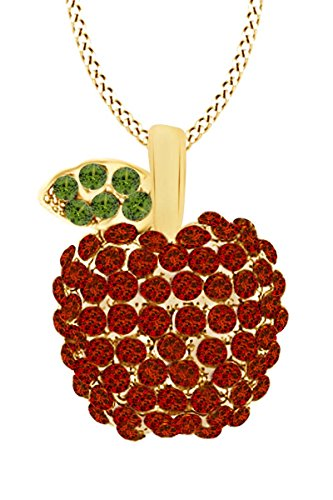 14k Yellow Gold Over Sterling Silver Simulated Garnet & Peridot Apple Pendant Necklace