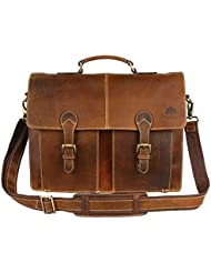 16 inch Handmade Leather Vintage Rustic Crossbody Messenger Briefcase Satchel Bag