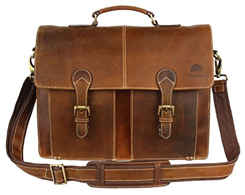 16 Inch Leather Vintage Rustic Crossbody Messenger Courier Satchel Bag Gift Men Women ~ Business Work Briefcase Carry Laptop Computer Book Handmade Rugged & Distressed ~ Everyday Office College School