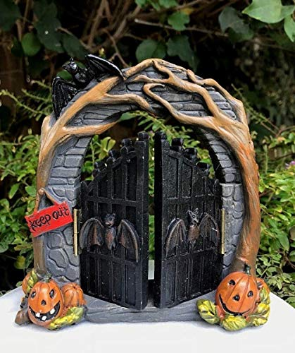 Miniature Dollhouse Fairy Garden ~ Mini Halloween Vine Arch w Opening Bat -