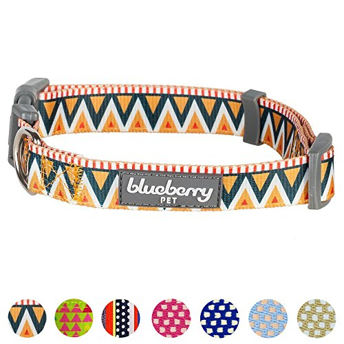 "Blueberry Pet 8 Patterns Elite Basic Dog Collar with Flame Stitch and Henley Stripes, Neck 18""-26"", Large, Adjustable Collars for Dogs"