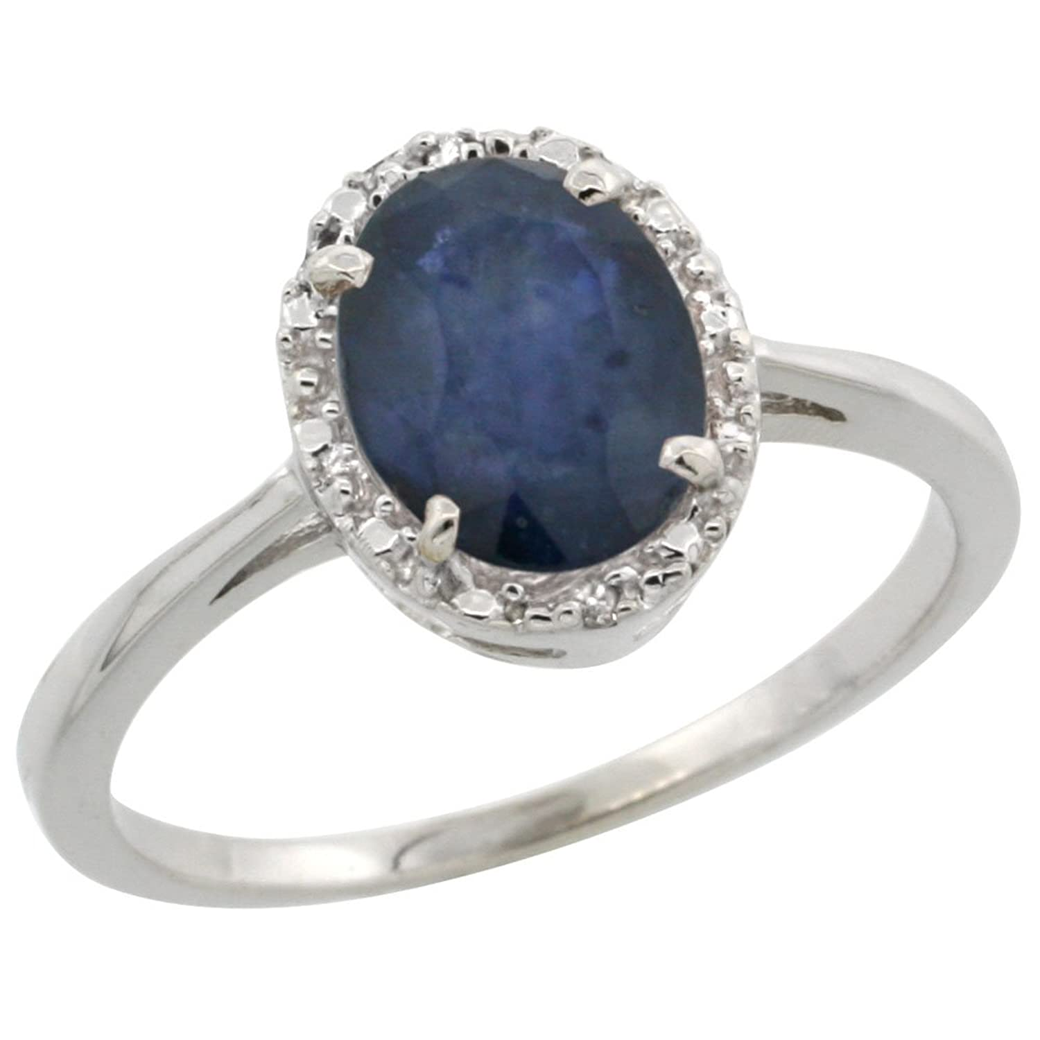 14K White Gold Natural Blue Sapphire Ring Oval 8×6 mm Diamond Halo, sizes 5-10