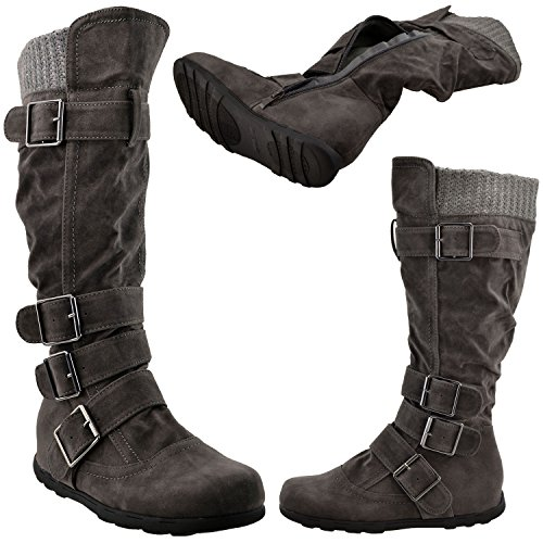 233 Sole Mid Y Charcoal Ruched Generation GY Women's Buckles Calf Calf Knee Rubber Knitted Boots High WB Suede SawOxqI