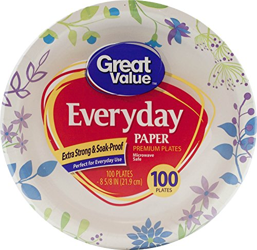 Great Value Everyday Premium Paper Plates, 8 5/8'', 100 Count by Great Value