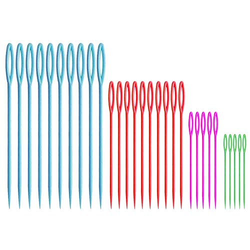 Plastic Sewing Needles – 30-Pack, 4 Sizes – Learning Needles – Plastic Yarn Needles – Safety Lacing Needles - Kids Safety Needles - Darning Needles - Large-Eye Blunt Needles -