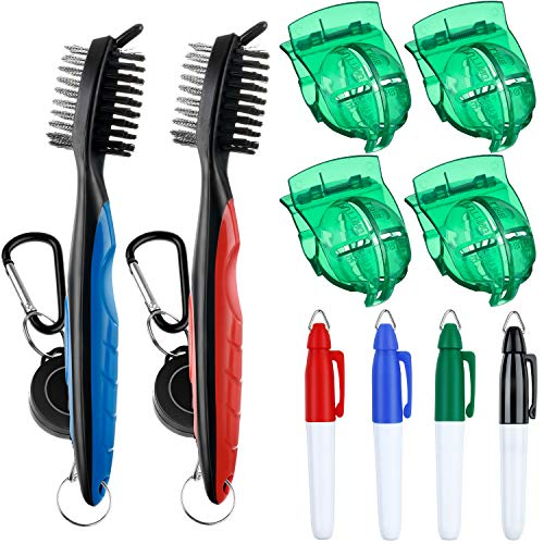 meekoo 4 Pack Golf Ball Line Drawing Marking Alignment Tool with 2 Pieces Golf Club Brush Groove Cleaner Retractable Clip and 4 Pieces Golf Ball Marker Pen ()