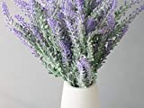 Opps Artificial Lavender Flowers Bouquet with White Ceramic Vase for Home, Party & Wedding Décor
