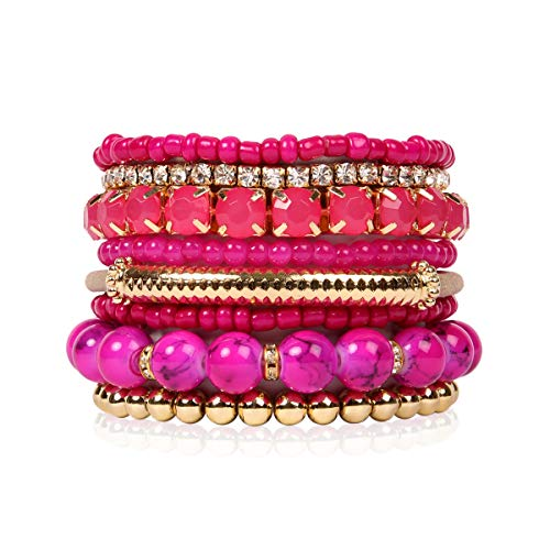 RIAH FASHION Multi Color Stretch Beaded Stackable Bracelets - Layering Bead Strand Statement Bangles (Original - Hot Pink, 7)