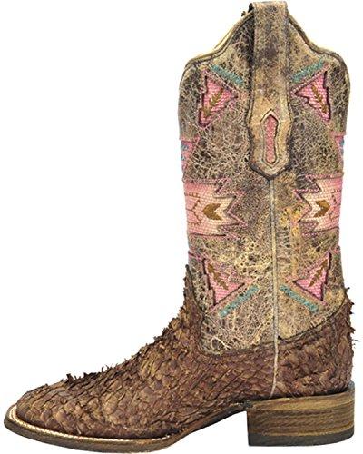 Corral Womens Gnarly Fiskskinn Cowgirl Boot Fyrkantig Tå - A3184 Brun