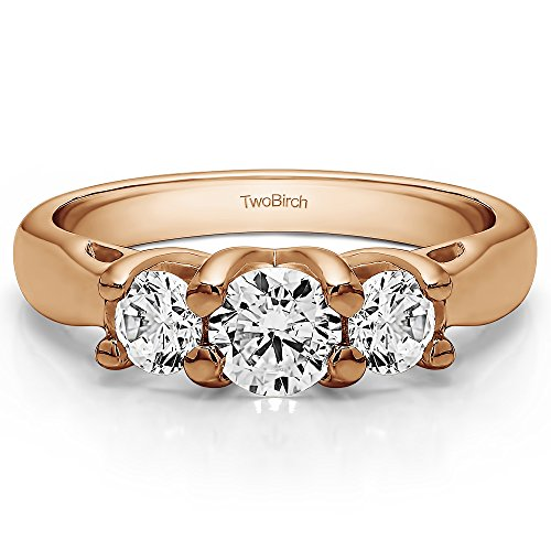 18K Rose Gold White Sapphire 1 CT Three Stone Trellis Set Ring (Size 3 To 15 1/4 Size Interval)