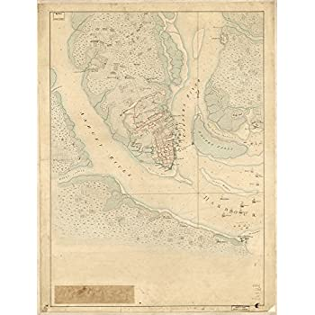 Amazon roam by 42 pressed charleston map print posters prints vintage 1780 map of the investiture of charleston sc by the english army in 1780 with the position of each corps charleston south carolina united gumiabroncs Images