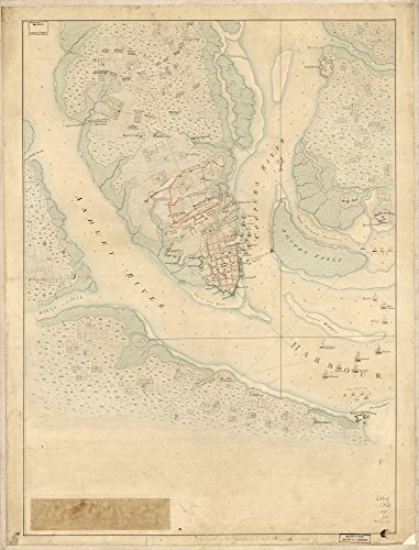 Vintage 1780 Map of The Investiture of Charleston, S.C. by the English army, in 1780. With the position of each corps. Charleston, South Carolina, United States