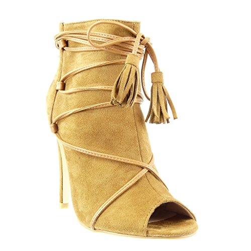 5 Pom Pom Stiletto Laces Stiletto Open Booty cm Angkorly High 10 Camel Shoes Women's Boots Heel Ankle Fashion Fringe Sandals Sexy nfB6Uq